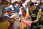 Team LottoNL-Jumbo rider with fans at sign on before the start of Stage 5 of the 2018 Tour de France running 204.5km from Lorient to Quimper, France. 11th July 2018. <br /> Picture: ASO/Pauline Ballet | Cyclefile<br /> All photos usage must carry mandatory copyright credit (&copy; Cyclefile | ASO/Pauline Ballet)