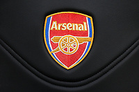 Arsenal badge on a seat in the home dugout during Arsenal Women vs Yeovil Town Ladies, FA Women's Super League FA WSL1 Football at Meadow Park on 11th February 2018
