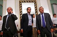 Andrea Ronchi, Raffaele Fitto e Maurizio Gasparri<br /> Roma 24-09-2015 Incontro 'Per l'Italia - Ricostruiamo il centrodestra'.<br /> Photo Samantha Zucchi Insidefoto