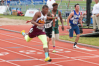 Kelly Jr. Maurice Davis crosses the finish line first in the Class 2 100-meter dash. Davis finished in 10.97 seconds.