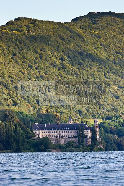 Europe/France/Rhône-Alpes/73/Savoie/Saint-Pierre-de-Curtille: Abbaye d'Hautecombe et Lac du Bourget, depuis le bateau de pêche d'Olivier Parpillon, pêcheur professionnel sur le lac
