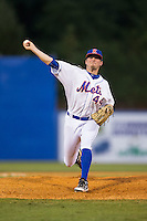 Kingsport Mets relief pitcher Thomas McIlraith (44) in action against the Elizabethton Twins at Hunter Wright Stadium on July 9, 2015 in Kingsport, Tennessee.  The Twins defeated the Mets 9-7 in 11 innings. (Brian Westerholt/Four Seam Images)