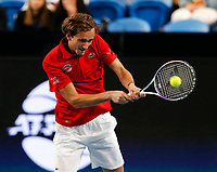 3rd January 2020; RAC Arena, Perth, Western Australia; ATP Cup Australia, Perth, Day 1, Russia versus Italy; Daniel Medvedev of Russia plays a backhand shot against Italy in the doubles - Editorial Use