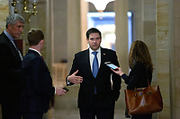 United States Senator Marco Rubio (Republican of Florida) speaks to members of the media at the United States Capitol in Washington D.C., U.S. on Tuesday, March 24, 2020.  The Senate is working to finalize a deal on the Coronavirus Stimulus Package, after it was blocked by Senate Democrats two days in a row.  Credit: Stefani Reynolds / CNP/AdMedia
