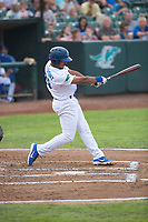 Ogden Raptors third baseman Jefrey Souffront (29) follows through on his swing during a Pioneer League game against the Great Falls Voyagers at Lindquist Field on August 23, 2018 in Ogden, Utah. The Ogden Raptors defeated the Great Falls Voyagers by a score of 8-7. (Zachary Lucy/Four Seam Images)