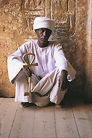 The keeper of the great key at the Temple of Ramses II in Abu Simbel. This temple, built by that most powerful of the Pharoahs between 1272 and 1242 BC, is fronted by four massive columns of himself.