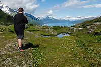 Summer landscape of hikers and photographers at Portage Pass near Whittier, Alaska<br /> <br /> Photo by Jeff Schultz/SchultzPhoto.com  (C) 2018  ALL RIGHTS RESERVED  Thurmer Tours Photo Tour  June, 2018 Alaska