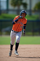 Houston Astros Rhandall Sanchez (92) running the bases during a Minor League Spring Training Intrasquad game on March 28, 2019 at the FITTEAM Ballpark of the Palm Beaches in West Palm Beach, Florida.  (Mike Janes/Four Seam Images)