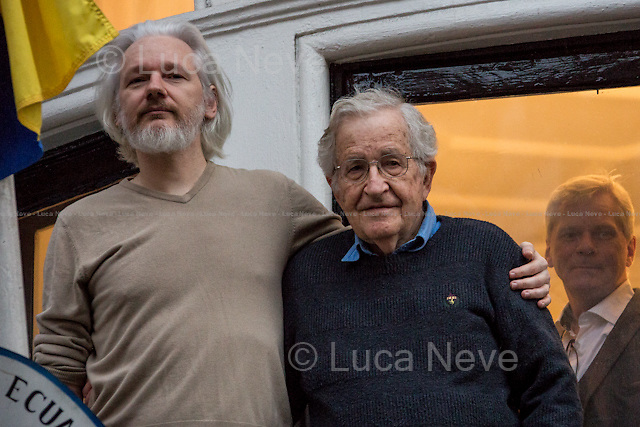 "London, 25/11/2014. As announced on the Wikileaks Facebook page, Professor Noam Chomsky (Avram Noam Chomsky, American linguist, philosopher, cognitive scientist, logician, political commentator and anarcho-syndicalist activist; sometimes described as the ""father of modern linguistics""; also he is a major figure in analytic philosophy; he has spent most of his career at the Massachusetts Institute of Technology MIT, where he is currently Professor Emeritus, and has authored over 100 books. He has been described as a prominent cultural figure, and was voted the ""world's top public intellectual"" in a 2005 – source Wikipedia.org) met Julian Assange at the Ecuadorian Embassy where the 16th August 2012 the President of Ecuador Rafael Correa and his Government granted the Diplomatic Asylum to the founder of Wikileaks."