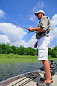 00416-029.17 Fishing:  Angler is working shallow water bulrushes from bass boat.