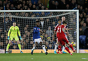 5th November 2017, Goodison Park, Liverpool, England; EPL Premier League Football, Everton versus Watford; Kiko Femenia of Watford fires in a shot from the edge of the area as Beni Baningime of Everton challenges