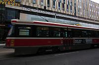 Toronto (ON) CANADA - July 2012 - TTC tramway on Dundas street near EATON CENTRE