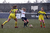 Sarah Wiltshire of Tottenham Ladies and Ellie Noble of Oxford United ladies during Tottenham Hotspur Ladies vs Oxford United Women, FA Women's Super League FA WSL2 Football at Theobalds Lane on 11th February 2018
