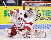Kieran Millan (BU - 31) - The visiting University of Vermont Catamounts tied the Boston University Terriers 3-3 in the opening game of their weekend series at Agganis Arena in Boston, Massachusetts, on Friday, February 25, 2011.