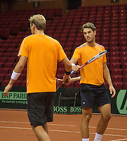 11-sept.-2013,Netherlands, Groningen,  Martini Plaza, Tennis, DavisCup Netherlands-Austria, Dutch team practice , Thiemo de Bakker(L) and Jesse Huta Galung (NED)<br /> Photo: Henk Koster