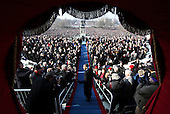 Washington, DC - January 20, 2009 -- United States President-elect Barack Obama arrives at his inauguration on the West Front of the Capitol in Washington January 20, 2009. Obama became the first African-American to be elected to the office of president in the history of the United States.  .Credit: Jim Bourg - Pool via CNP