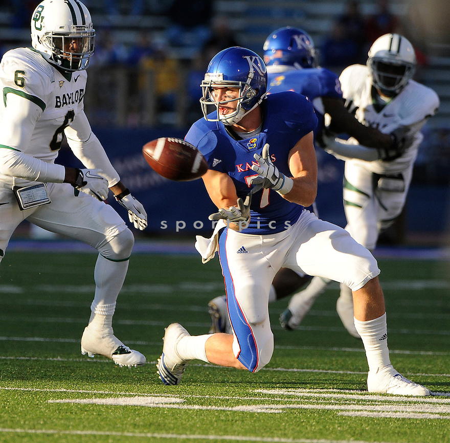 KALE PICK, of the Kansas Jayhawks, in action during Kansas game against the Baylor Bears on November 12, 2011 at memorial Stadium in Lawrence, KS. Baylor beat Kansas 31-30 (OT).