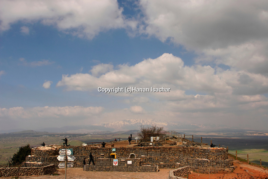 The Golan Heights. Abandoned military outpost on Mount Bental, Mount Hermon is in the background