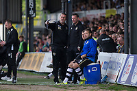Notts County manager Kevin Nolan consults with coach Mark Crossley during the Sky Bet League 2 match between Newport County and Notts County at Rodney Parade, Newport, Wales on 6 May 2017. Photo by Mark  Hawkins / PRiME Media Images.