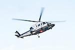 Philadelphia, Pennsylvania - MidAtlantic MedEvac's Sikorsky S-76 on final approach for the helipad on the roof of The Childrens Hospital of Philadelphia.