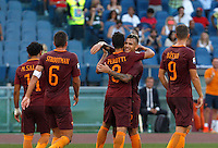 Calcio, Serie A: Roma vs Udinese. Roma, stadio Olimpico, 20 agosto 2016.<br /> Roma&rsquo;s Diego Perotti, center, celebrates with teammates after scoring on a penalty kick during the Italian Serie A football match between Roma and Udinese at Rome's Olympic stadium, 20 August 2016. Roma won 4-0.<br /> UPDATE IMAGES PRESS/Riccardo De Luca