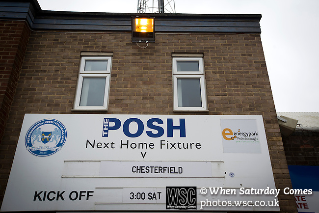 Peterborough United 1 Chesterfield 0, 21/03/2015. Abax Stadium, League One. An advertising sign outside the London Road stand covered terrace at the Abax Stadium, before Peterborough United play Chesterfield in a SkyBet League One fixture. The home team won the match by one goal to nil, watched by a crowd of 6,612. The result allowed Peterborough to leapfrog their opponents into the League One play-off positions with eight games remaining of the season. Photo by Colin McPherson.