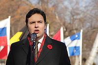 Montreal, CANADA - Nov 11 -  SSJB President Maxime Laporte  attend the ceremony of Remembrance Day ornanized by the Societe Saint-Jean-Baptiste du Quebec (SSJB),  november 11, 2014 in Cote-des-neiges cemetary.<br /> <br /> Photo :  Agence Quebec Presse - Pierre Roussel