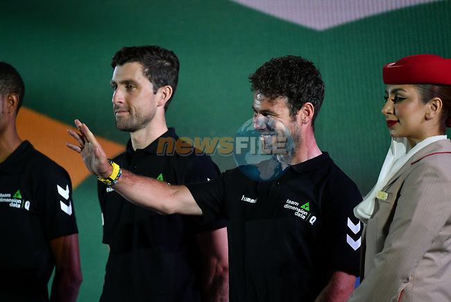 Mark Cavendish (GBR) and Bernhard Eisel (AUT) Team Dimension Data on stage at the inaugural UAE Tour 2019 opening ceremony and team presentation held in the Louvre Abu Dhabi, United Arab Emirates. 23rd February 2019.<br /> Picture: LaPresse/Massimo Paolone  | Cyclefile<br /> <br /> <br /> All photos usage must carry mandatory copyright credit (© Cyclefile | LaPresse/Massimo Paolone)