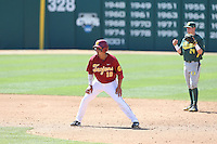 A.J. Ramirez (10) of the Southern California Trojans leads off of second base during a game against the Oregon Ducks at Dedeaux Field on April 18, 2015 in Los Angeles, California. Oregon defeated Southern California, 15-4. (Larry Goren/Four Seam Images)