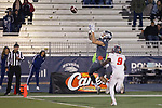 Nevada wide receiver Elijah Cooks (1) makes the catch for a touchdown over New Mexico's Jerrick Reed II (9) in the second half of an NCAA college football game in Reno, Nev., Saturday, Nov. 2, 2019. (AP Photo/Tom R. Smedes)