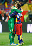 FC Barcelona's Marc-Andre Ter Stegen (l) and Leo Messi celebrate the victory in the Spanish Kings Cup Final match. May 22,2016. (ALTERPHOTOS/Acero)
