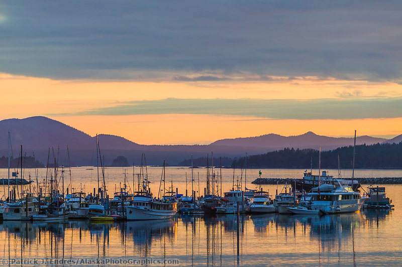 Fishing vessels in the Sitka Channel, coastal town of Sitka, Alaska