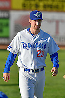 Brock Carpenter (23) of the Ogden Raptors warms up in the outfield before the game against the Orem Owlz in Pioneer League action at Lindquist Field on September 9, 2016 in Ogden, Utah. This was Game 1 of the Southern Division playoff. Orem defeated Ogden 6-5. (Stephen Smith/Four Seam Images)