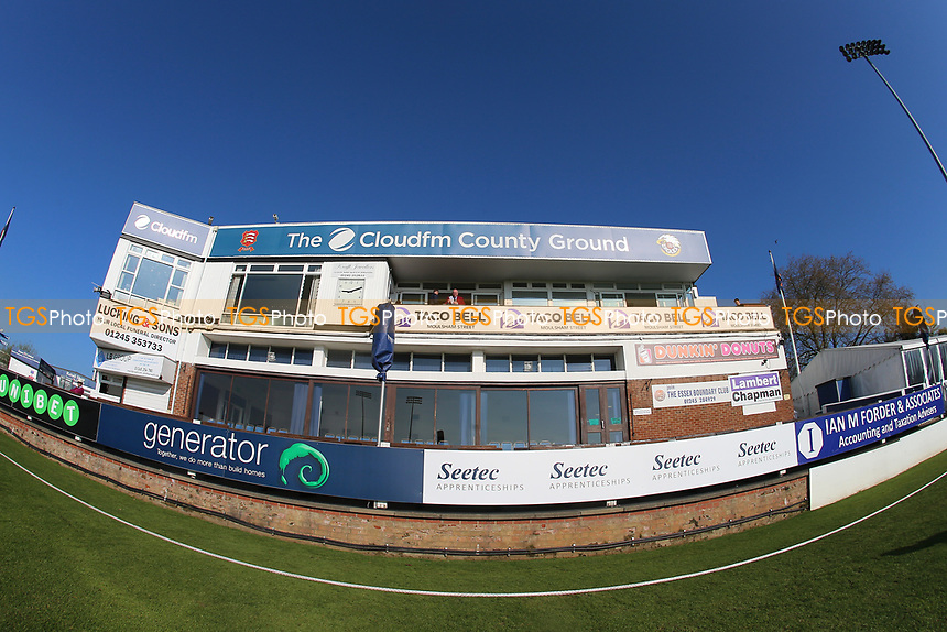 General view of the pavilion during Essex CCC vs Lancashire CCC, Specsavers County Championship Division 1 Cricket at The Cloudfm County Ground on 7th April 2017