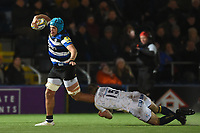 Zach Mercer of Bath Rugby is tackled by Chris Pennell of Worcester Warriors. Aviva Premiership match, between Worcester Warriors and Bath Rugby on January 5, 2018 at Sixways Stadium in Worcester, England. Photo by: Patrick Khachfe / Onside Images