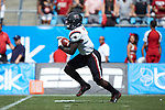 Deebo Samuel (1) of the South Carolina Gamecocks returns the opening kick-off 97 yards for a touchdown during first half action against the North Carolina State Wolfpack in the Belk College Kickoff at Bank of America Stadium on September 2, 2017 in Charlotte, North Carolina.  The Gamecocks defeated the Wolfpack 35-28.  (Brian Westerholt/Sports On Film)