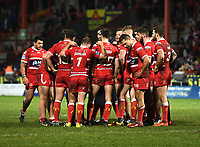 Picture by Anna Gowthorpe/SWpix.com - 02/02/2018 - Rugby League - Betfred Super League - Hull KR v Wakefield Trinity - KC Lightstream Stadium, Hull, England - The Hull KR team group together after the game