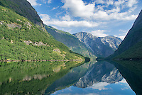 reflection of mountains in Nærøyfjord near the popular tourist town of Gudvangen, Norway