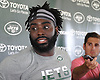 Demario Davis #56 speaks with the media after a day of New York Jets Training Camp at the Atlantic Health Jets Training Center in Florham Park, NJ on Thursday, Aug. 3, 2017.