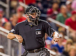 22 August 2015: MLB Umpire Clint Fagan makes a call during a game between the Washington Nationals and the Milwaukee Brewers at Nationals Park in Washington, DC. The Nationals defeated the Brewers 6-1 in the second game of their 3-game weekend series. Mandatory Credit: Ed Wolfstein Photo *** RAW (NEF) Image File Available ***