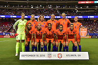 Atlanta, GA - Sunday Sept. 18, 2016: Netherlands Starting Eleven prior to a international friendly match between United States (USA) and Netherlands (NED) at Georgia Dome.