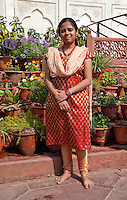 Agra, India.  Indian Woman Visitor to the Taj Mahal.