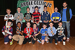 Players of the year Josh Taaffe U-8, Shane Gorman U-8, Andrew Wogan U-9, James Maguire U-9, Shane Halpin U-10, James Rogers U-10, David Hickey U-11, David Jimbowa U-11, Richard Rogers U-12, Luke Dunne U-13, Darragh McCoy U-13, Tristan Knowles U-14, Paul McArdle U-15 pictured with Ross Gaynor at Ardee Celtic underage awards night in Ardee Parish Centre. Photo:Colin Bell/pressphotos.ie