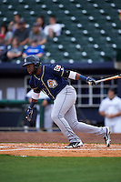 San Antonio Missions outfielder Yeison Asencio (14) at bat during a game against the NW Arkansas Naturals on May 31, 2015 at Arvest Ballpark in Springdale, Arkansas.  NW Arkansas defeated San Antonio 3-1.  (Mike Janes/Four Seam Images)