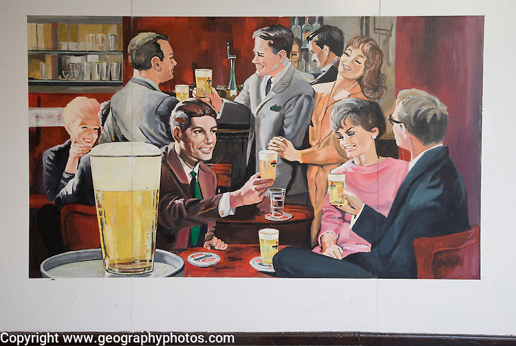 Poster advert painting for beer drinking, Rotterdam, South Holland, Netherlands