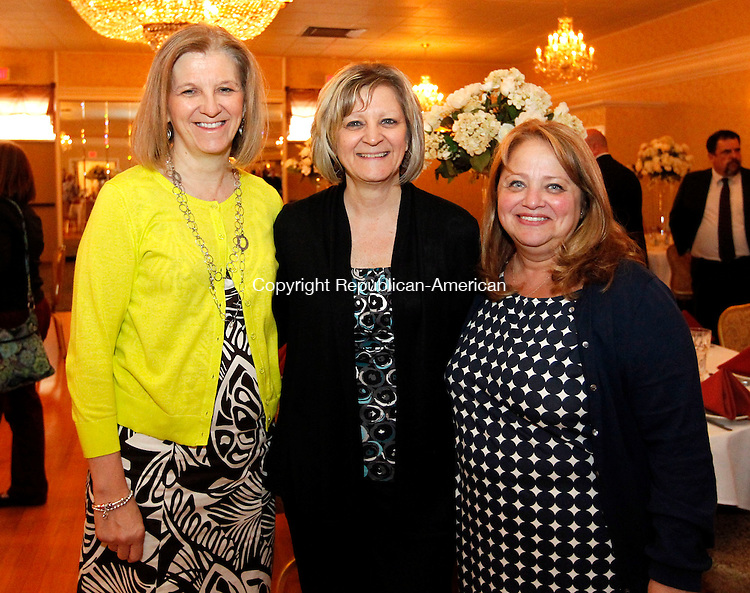Naugatuck, CT- 07 May 2013-050713CM07-  Social Moments---    Left to right,  Michelle Russell, Joanne Allison and Elaine Mulhall of Naugatuck photographed during  the Raymond K. Foley Award Banquet presented by the Naugatuck Parent School Council at the Crystal Room in Naugatuck Tuesday night.  Christopher Massa Republican-American