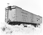 3/4 view of long reefer #165.<br /> D&amp;RGW  Antonito, CO  Taken by Polkinghorn, R. S. - 1958