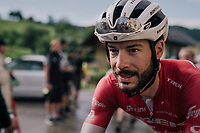 Julien Bernard (FRA/Trek-Segafredo) after finishing this wet stage<br /> <br /> Stage 3: Oberstammheim &gt; Gansingen (182km)<br /> 82nd Tour de Suisse 2018 (2.UWT)
