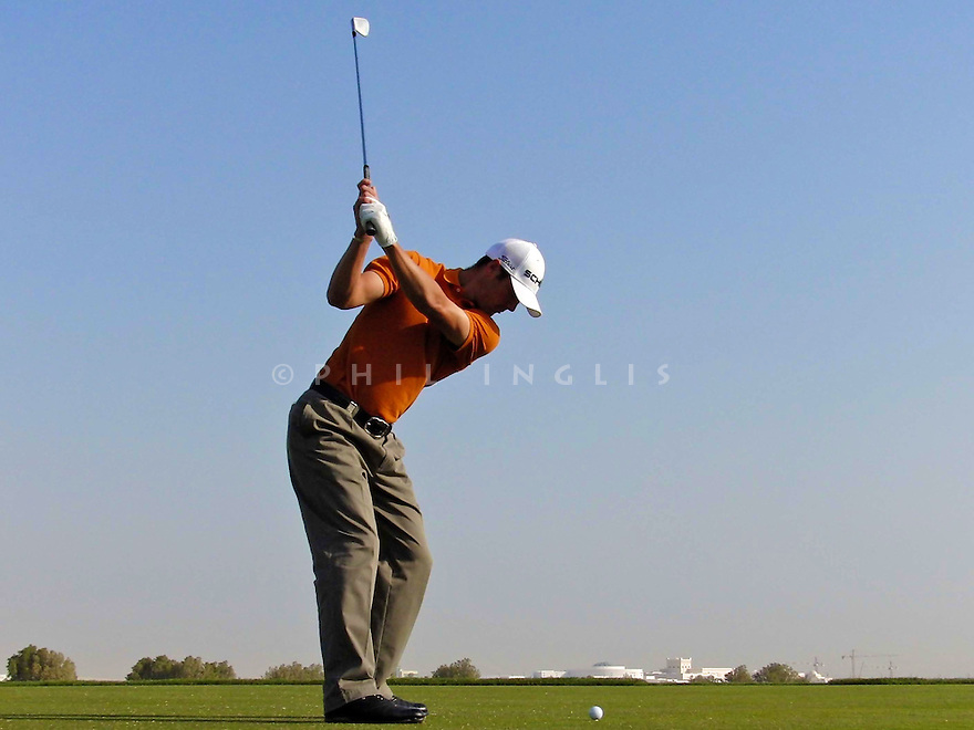 Martin Kaymer (GER) swing sequence mid iron during practice for Commercialbank Qatar Masters 2008 at Doha Golf Club. Picture Credit / Phil Inglis