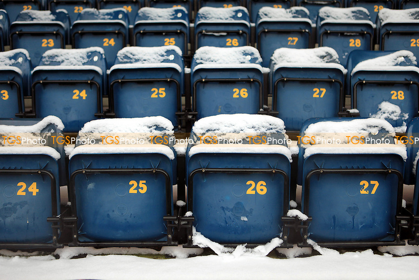 Snow gathers on the seats at Wycombe Wanderers - Wycombe Wanderers vs Dagenham & Redbridge - NPower League Two Football at Adams Park, High Wycombe - 19/01/13 - MANDATORY CREDIT: Paul Dennis/TGSPHOTO - Self billing applies where appropriate - 0845 094 6026 - contact@tgsphoto.co.uk - NO UNPAID USE.